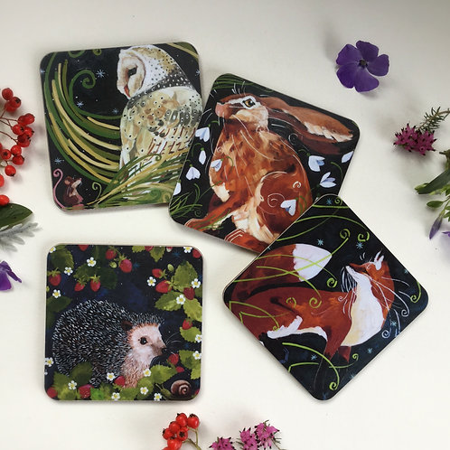 Set of 4 different coasters