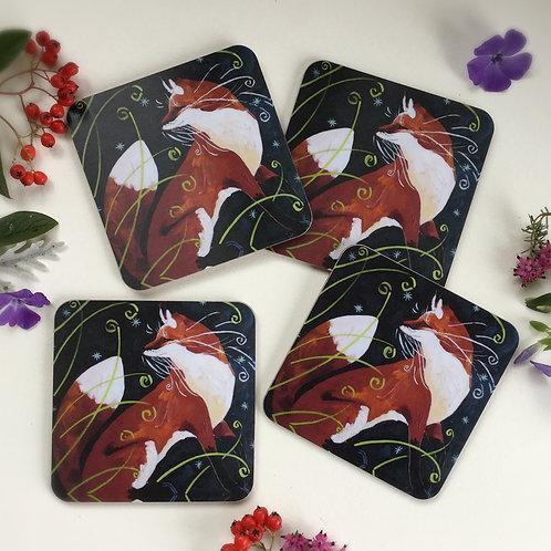 Set of 4 Fine Foxy Coasters
