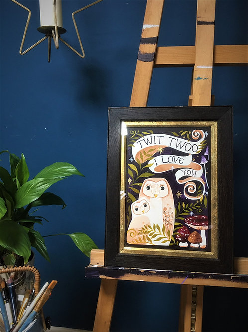 Twit Twoo I Love You, ORIGINAL painting upcycle