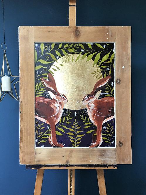 Full Moon Hares, ORIGINAL painting on wooden door