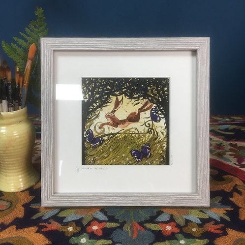 King of the hares, framed boxed print
