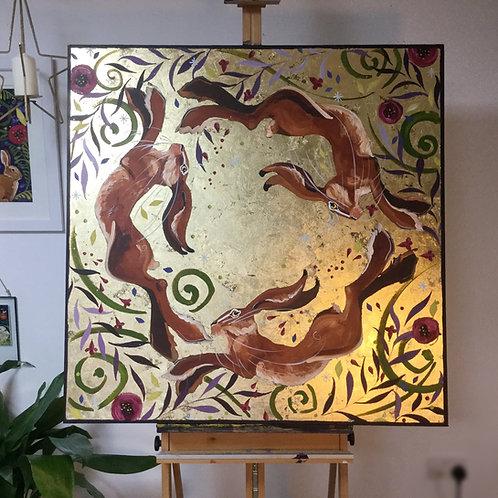 Large, Three Hares, ORIGINAL canvas