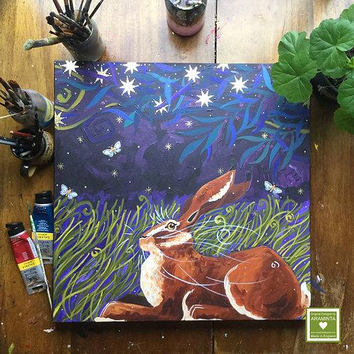 Ruddy Muddy Midnight Hare, ORIGINAL Canvas