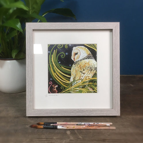 Friend of Foe? Barn owl and mouse, framed boxed print