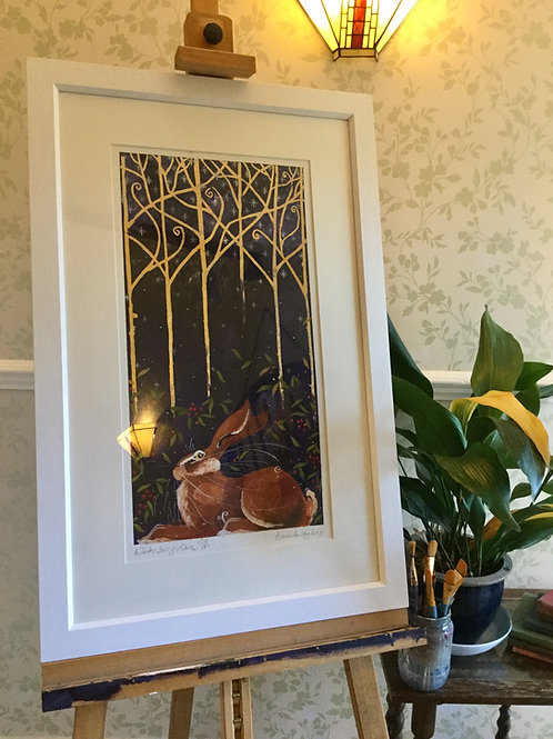 Winter Berry Hare, ORIGINAL painting