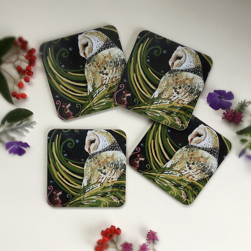 Set of 4 Barn Owl Coasters