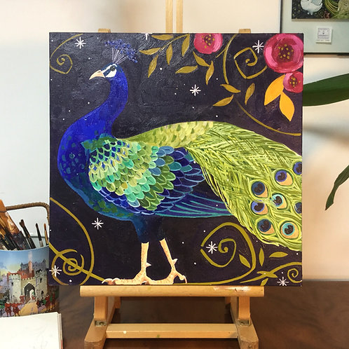 Pretty Posh Peacock, ORIGINAL oil on canvas