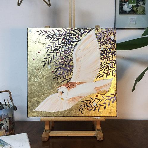 Midnight Barn Owl, ORIGINAL acrylic on canvas