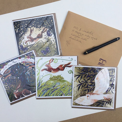 Greetings cards, pack of 4