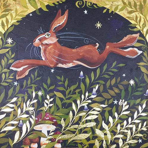 Leaping Lysander Hare, ORIGINAL painting