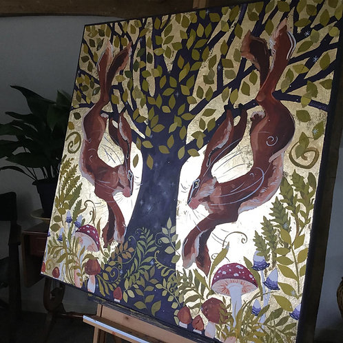 Wild Wood Hares, ORIGINAL canvas