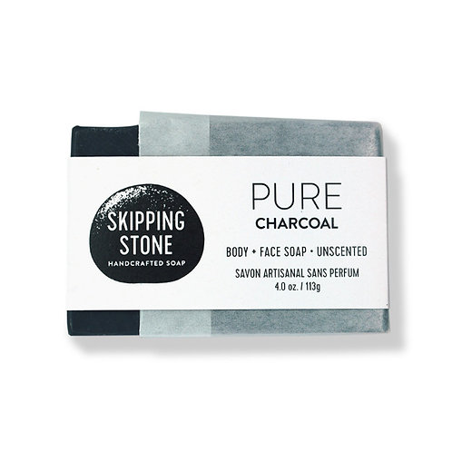 Skipping Stone Soap Bars - PURE Charcoal - Body + Face Soap - Unscented