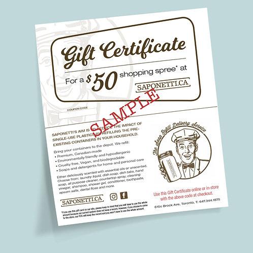Saponetti Gift Certificate