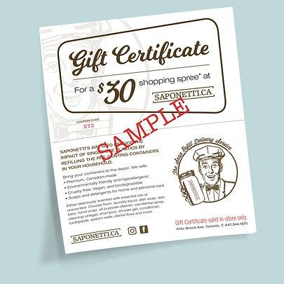 Saponetti In-store Gift Certificate