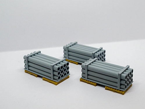 3x DRAIN PIPE WAGON LOADS OO GAUGE MODEL RAILWAY 1:76 SCALE