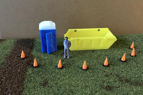 OO Scale Guage 00 Skip, 8 Cones + Portable Toilet