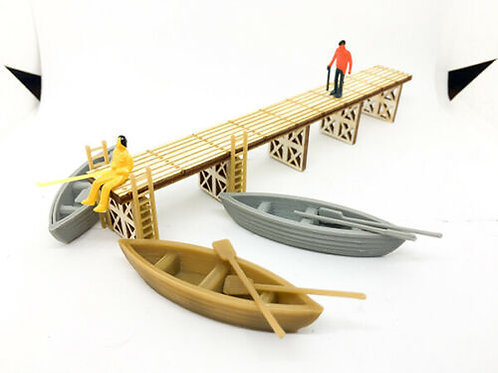 OO Scale Laser Cut Pier / Jetty With 3 Boats 6x Oars