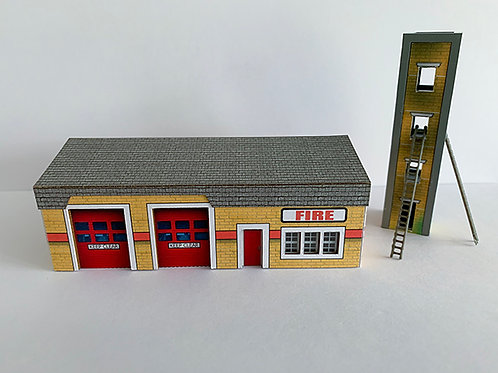 N Scale fire station with tower