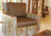 כורסא מיוחדת עץ ממוחזר