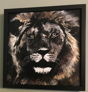 """Framed acrylic painting 12"""" x 12"""". Titled """"Facing the Lion Head On"""" Priced at $175.00."""