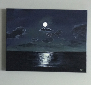 """Unframed acrylic painting 11"""" x 14"""". Titled """"Moon Light Saranade"""" Priced at $150.00."""