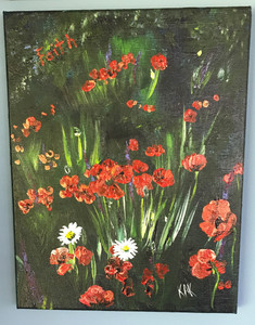 """Unframed acrylic painting 11"""" x 14"""". Titled """"Poppy Field"""" priced at $150.00"""