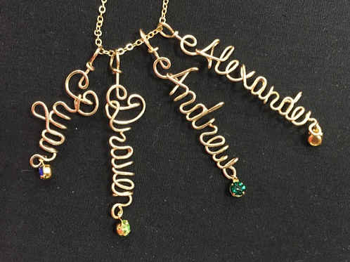 Multiple Name Necklace in Sterling