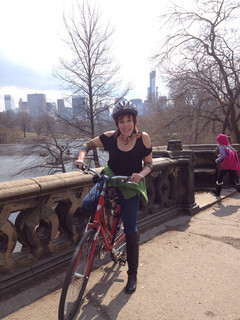 Dee biking in Central Park