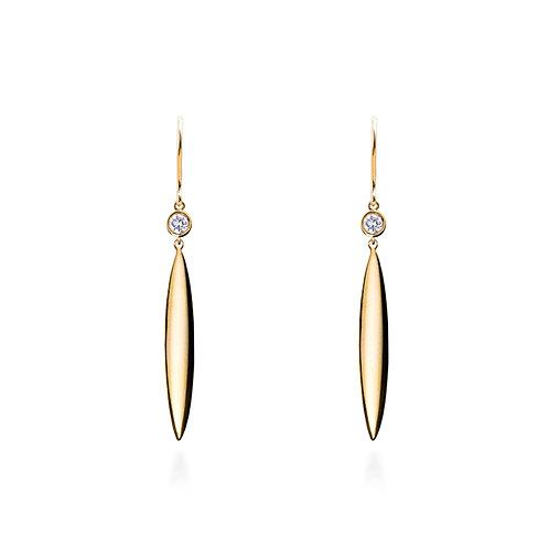 Long Seed Bezel Diamond Earrings