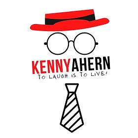 Kenny's logo. It includes a red hat atop round glass frames with his name and stripped tie below.