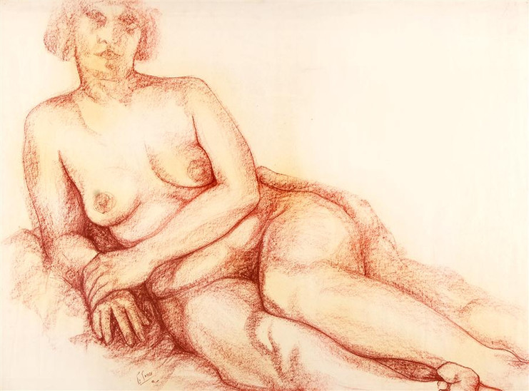 Reclining Female Nude (facing viewer)