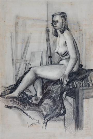 Seated Nude in Studio