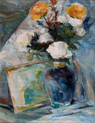 Still-Life - Blue Vase with Flowers