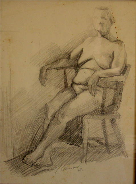 Seated Female Nude (Old Lady)
