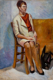 Seated Lady and Black Bag