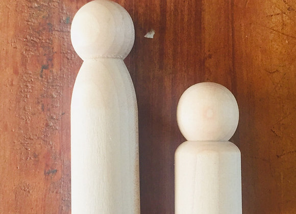 Plain wooden peg dolls