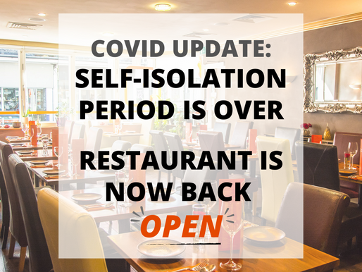COVID UPDATE: RESTAURANT BACK OPEN