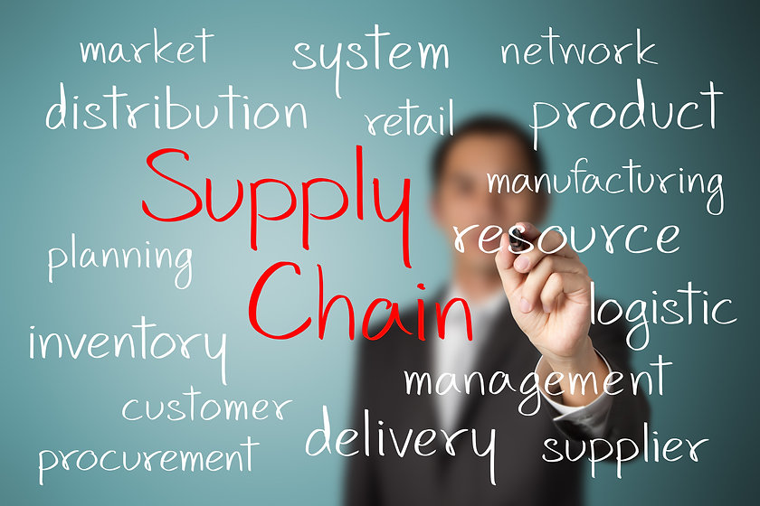 business man writing supply chain manage
