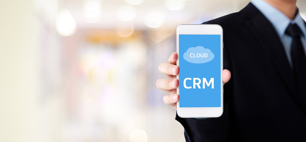 Man holding smartphone with CRM, Custome