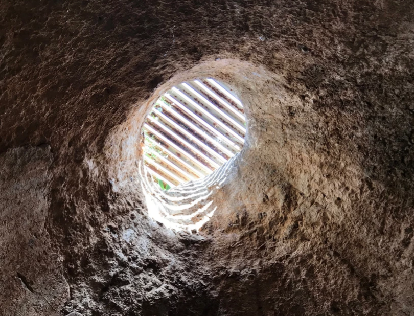 Looking up through one of the airshafts from a cave.