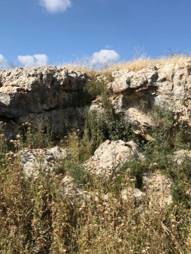 A rock ledge at Yodfat hides a cave entrance at the base.