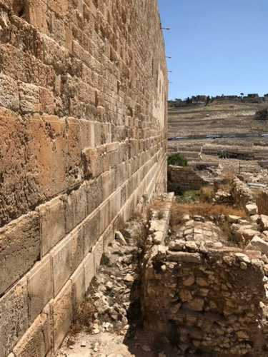 The southern wall of the Temple Mount and the Mount of Olives