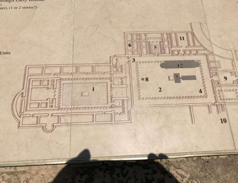 Close up map of the governor's palace at Caesarea.