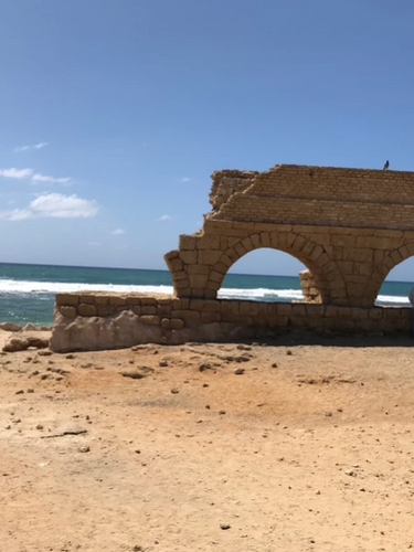 The remaining end of the Roman aqueduct built in the 2nd century CE.