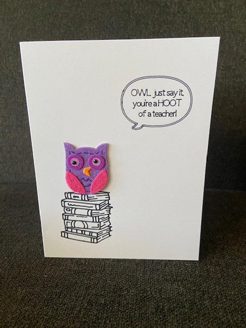 Hoot of a Teacher Card