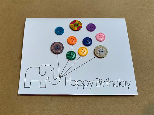 Box of 4 Birthday Elephant & Balloons Cards