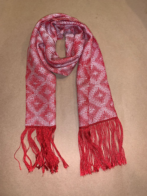 Crimson and White Scarf by Susie