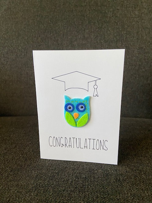 Owl Grad Congrats Card