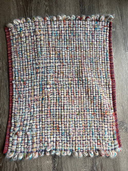 24 x 28 Multi-colored & Red Hem Loop Rug