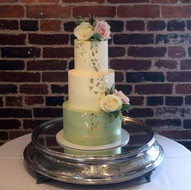 Sage, ivory and gold buttercream wedding cake
